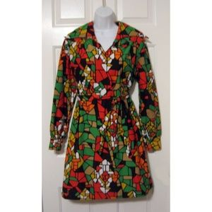 Vtg 60s Rare Jon Alden Mosaic Mini Dress M